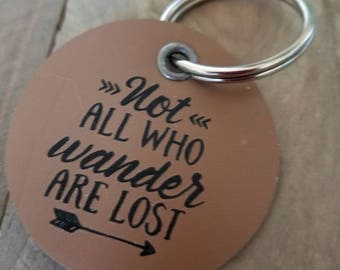Not All Who Wander Are Lost Genuine Leather Keyring, Leather Travel Boho Gift, Wanderlust Key Tag, Traveler Pendant, Adventure Keychain
