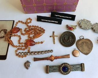 Vintage Jewelry Lot Some Wearable Some Projects Shoe Clips Glass Beads Brooches Pendants Victorian-Deco