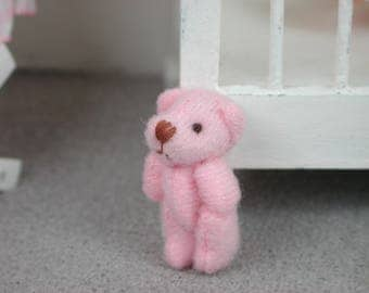 Teddy in the shade of Pink for the doll, the Dollhouse, miniature dollhouse miniatures