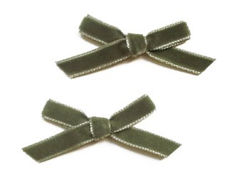 2 large 75 mm almond Green Velvet ribbon bow
