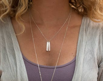 Personalized Vertical Multi Bar Necklace, Name Necklace, Custom Hand Stamped Silver Necklace, Skinny Bar Necklace on Sterling Silver Chain