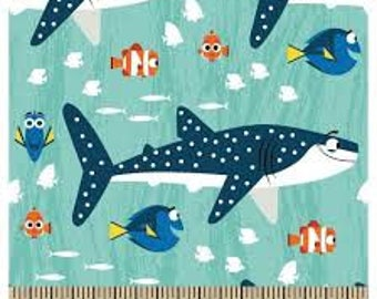 "Finding Dory Finding nemo by Springs Creative fabric, By the Half Yard, 42"" wide, 100% cotton fabric, cartoon fabric, disney fabric,"