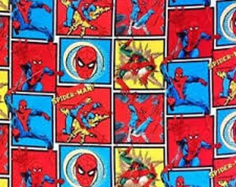 """Spiderman in comic squares fabric, By the Half Yard, 44"""" wide, cotton"""