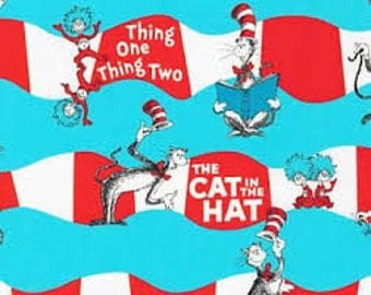 """The Cat in the Hat stripes - Robert Kauffman fabric, 43-44"""" wide, 100% cotton"""