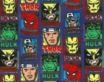 "Avengers linear comic profile FLANNEL fabric, By the Half Yard, 42"" wide, cotton"