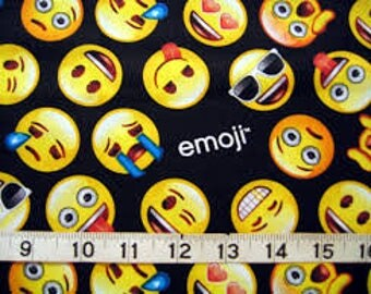 """Emoji faces on black Davids Textiles, 43-44"""" wide, 100% cotton, by the half yard, character fabric, licensed fabric, emoji fabric"""