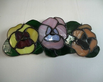 Stained glass pansies sun catcher
