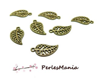 50 H1135 BRONZE, DIY worked leaf charms pendants
