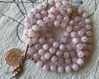 I Love   108 Mala Beads   knotted Mala Necklace   Rose Quartz