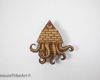 Pyramid/Eye/Kraken Hat Pin - Maple Wood Item #1059