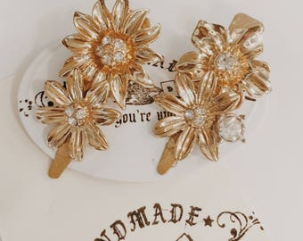 gold flowers, gold daisies hair clips, boho accessories