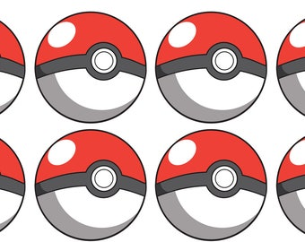 EDIBLE Pokemon Pokeball Wafer Cupcake Toppers