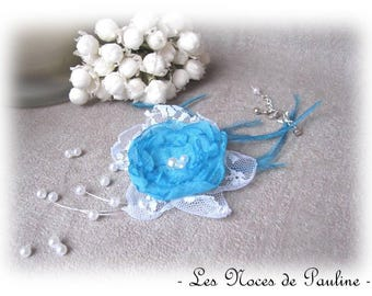 Turquoise wedding Camellia, Collection des textile bracelet