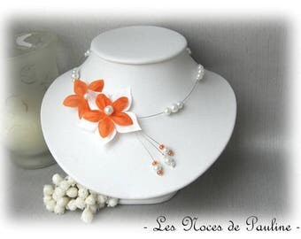 Orange and white flower bridal satin Julia