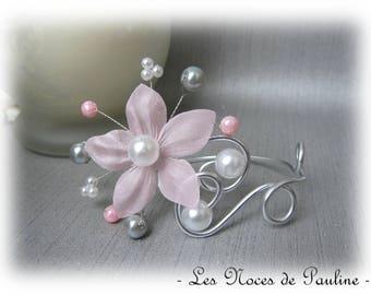 Bracelet pink, grey and white wedding flower silk Anaïs b.