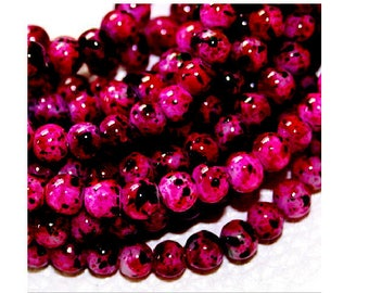 lot 100 4 mm black marbled pink glass beads