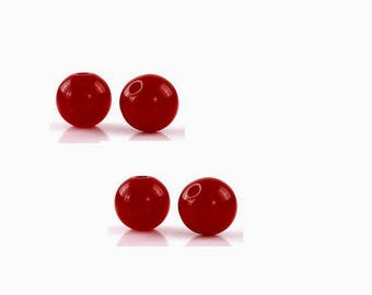 set of 50 8 mm red acrylic beads
