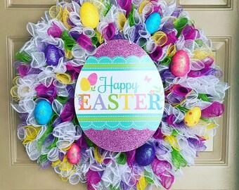 Happy Easter Wreath, Easter Wreath, Easter Decor, Front Door Wreath, Easter Egg Wreath, Porch Wreath, Outdoor Wreath