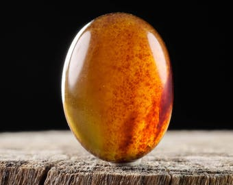 One 12x16mm Oval Dark Honey AMBER Cabochon - Oval Cabochon for Natural Amber Jewelry Making, Amber Stone, Gemstone Cabochon Stone E0532