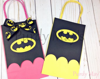 Batman Goodie Bags, Batman Goody Bags, Batman Treat Bags, Batman Party Favors, Batman Favors, Batman Bags, Pink Batman Goody Bags, Batman