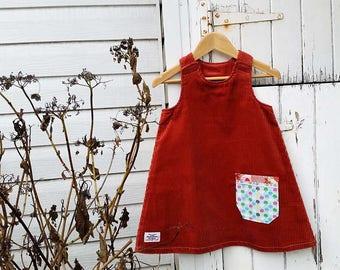 Australian Made Corduroy Girl Dress Brown Corduroy Dress Terracotta Lil Party Dress Corduroy Dress Aline Dress Toddler Dress Baby Girl Dress