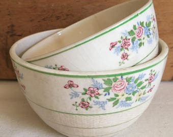 Vintage Ironstone Floral Bowls - Made in Japan - Beautiful crazing!