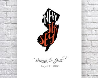 Nj map etsy new jersey typography map map of new jersey wall art custom new jersey map negle Gallery