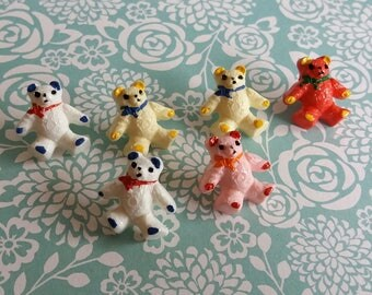 Vintage Teddy Bear Buttons - Hard Plastic - Hand Painted Details