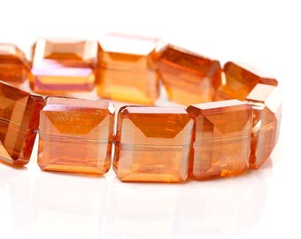 4 large faceted square glass Orange 13 mm