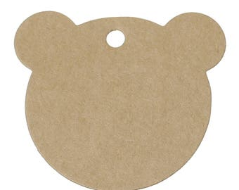 "25 kraft tags ""Bear"" gifts in cardboard/paper 6cm"
