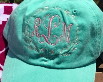 Monogrammed Cap Personalized Cap Custom Cap Gift for Her Bridesmaid Gift Graduation Gift Sorority Gift Bachelorette Party Beach Cap