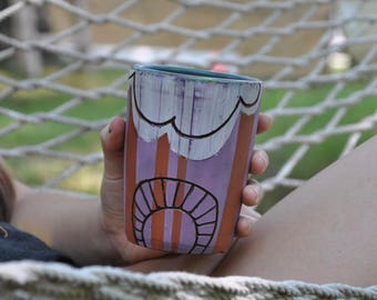 hand painted cup - 16oz