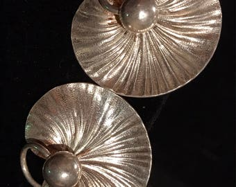 Forstner Sterling Lilly Pad Earrings-Early Work 1930's 1""