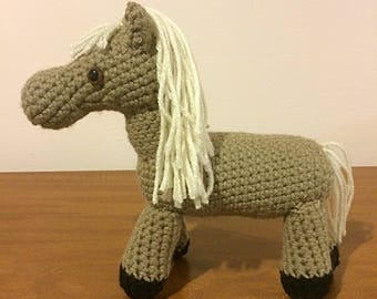 Crochet horse, amigurumi horse, plush horse toy, brown stuffed horse