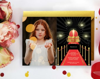 Red Carpet Invitation, Birthday Invitation with/without photo, Hollywood Invite, Birthday Party, Red Carpet Gala Invitation, Award, Digital
