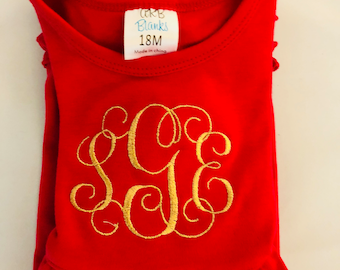 Girl's Monogrammed Holiday Dress
