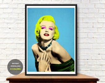 Marilyn Monroe wall art, Pop art poster, Marilyn Monroe poster, pop art print, celebrity portrait, andy warhol print, printable art,set of 6