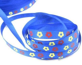 Ribbon GROSGRAIN sold by the yard blue pattern Daisy 10mm