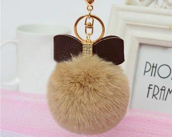 Keychain fur tassel ball hair bow rhinestone diameter 8cm