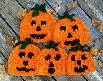 Sold Seperately / Jack-O-Lantern Family / All Are Still Available / Halloween Hats / Pumpkin Beanie / Costume / Holiday / Seasonal