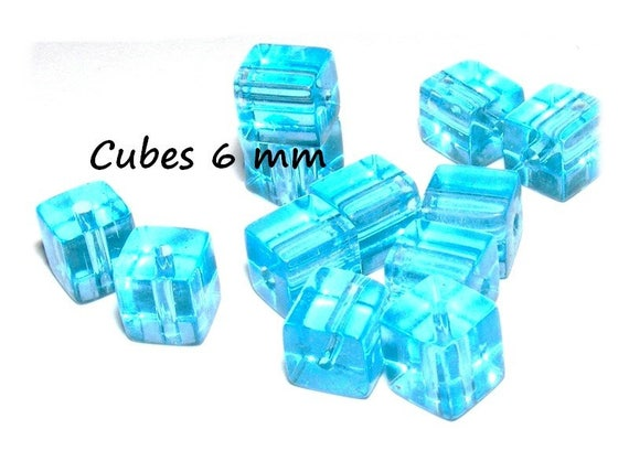 Pearls of Bohemian crystal [Aquamarine] 6 x 6mm CUBE shape