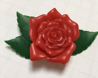 Celluloid Rose Brooch - Signed Cruver Chicago Molded Celluloid Flower Brooch - Red Rose Celluloid Brooch - Vintage Flower Jewelry