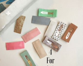 Snap clips// hair clips// faux leather clips // 4 for 10 bundle