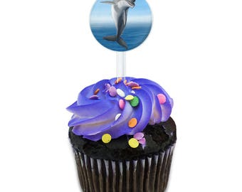 Flippin For Dolphins Cake Cupcake Toppers Picks Set