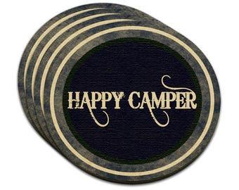 Happy Camper Denim Blues Mdf Wood Coaster Set Of 4