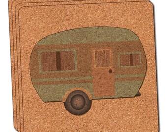 Camper Trailer Rv Camping Thin Cork Coaster Set Of 4