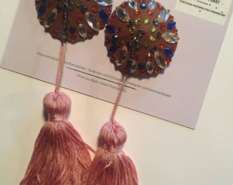 Brown Gold Blue and Pink Super Spinner Nipple Tassels