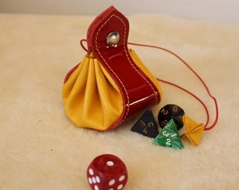 Leather purse. Purse for dice; medieval purse; wallet; Red purse