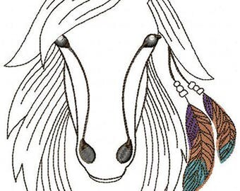 AH 012 Horse and Feathers - Machine Embroidery Design 5*7, 6*8, 8*10
