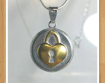 LOVE HEART LOCK necklace two tone gold and silver